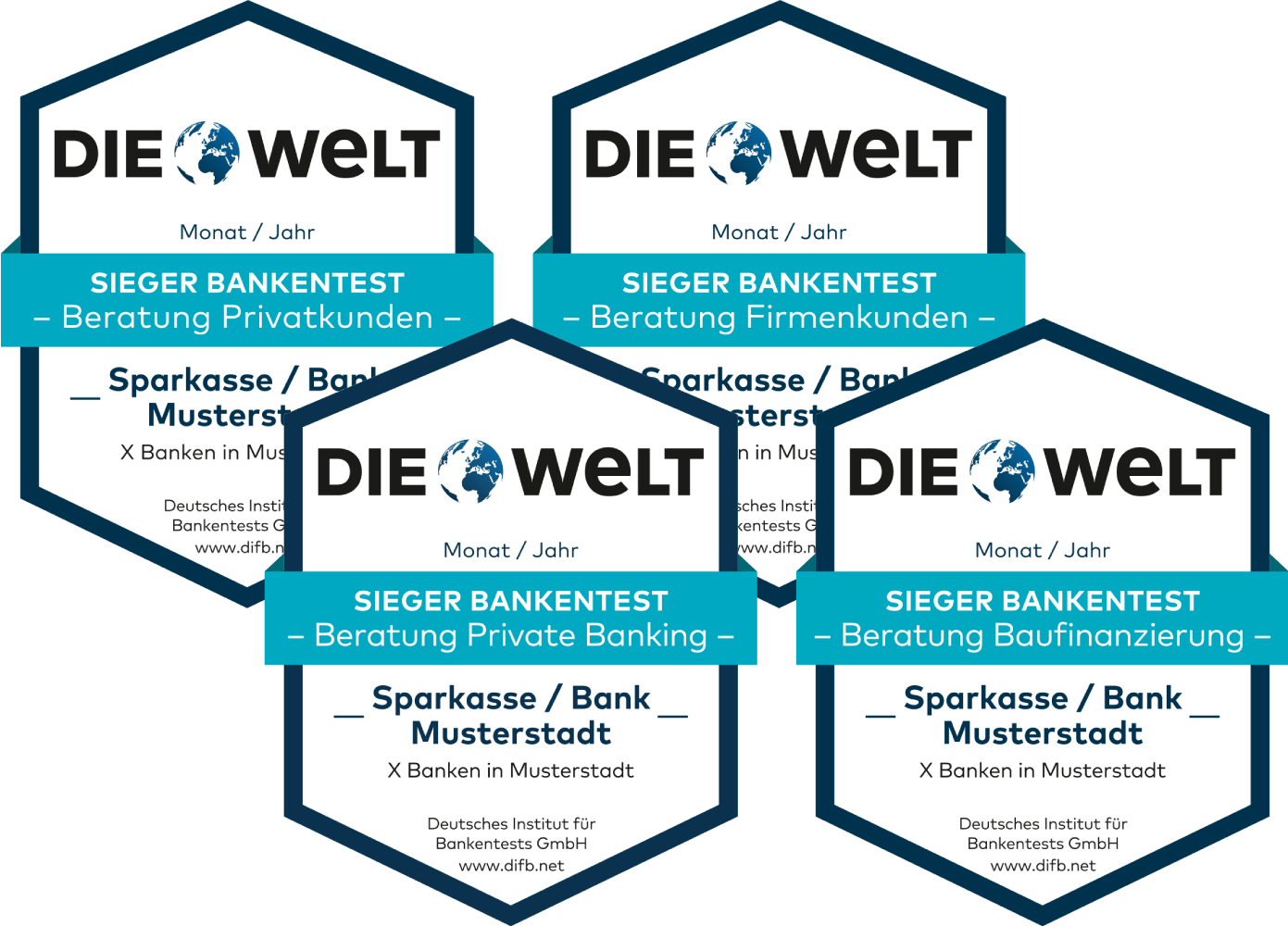 Deutsches-Institut-fuer-Bankentests-Siegel-die-Welt-Privatkunden-Baufinanzierung-Firmenkunden-Private-Banking-Vermoegensberatung-Logos