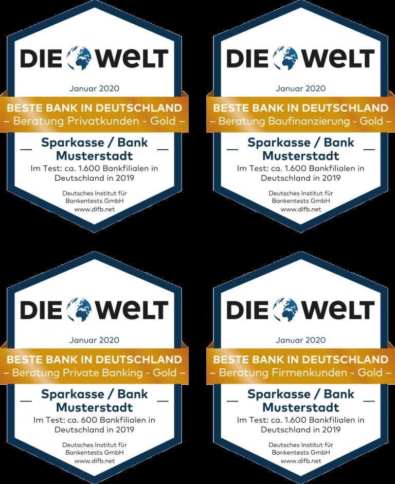 Siegel Deutsches Institut für Bankentest 2020 Privatkunden Firmenkunden Baufinanzierung Private Banking