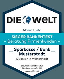 Deutsches Institut für Bankentests DIFB Sieger Bankentest Firmenkunden
